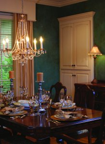 The final product incorporated the green shutters into this dining room.