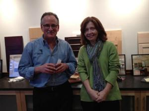 Peter Feinmann, CR, visit with a past client at the lifestyle event in his showroom.