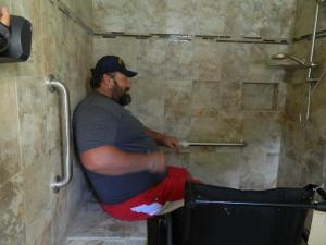 With a $40,000 donation from the Tampa Bay Buccaneers, Rebuilding Together Tampa Bay remodeled Bernts' home to meet ADA standards, as evident in his new shower, which was designed with zero barriers and a bench.