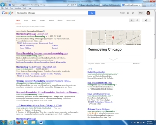 Google search for Remodeling Chicago pulls Normandy Remodeling close to top of results.